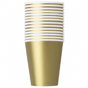 Gold Paper Cups 9oz (270ml) (14pcs)